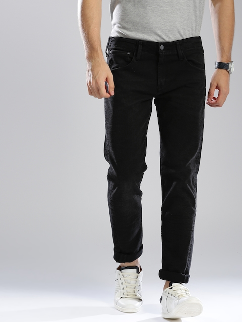 Levis Men Black Slim Fit Mid-Rise Clean Look Stretchable Jeans