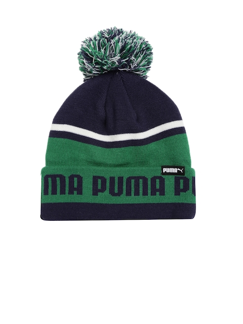 Puma Unisex Green & Navy Blue Patterned ARCHIVE Authentic Beanie