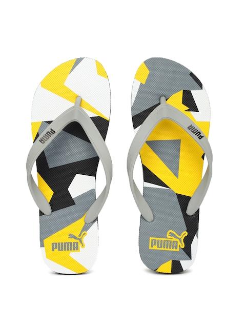 Puma Unisex Grey & Yellow Printed Flip-Flops