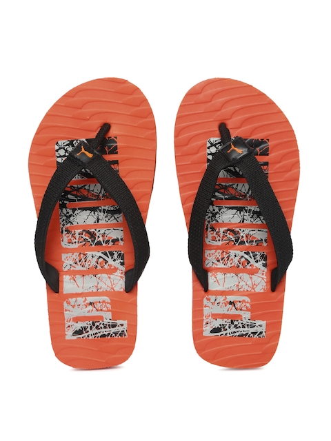 Puma Unisex Black & Orange Miami Printed Flip-Flops