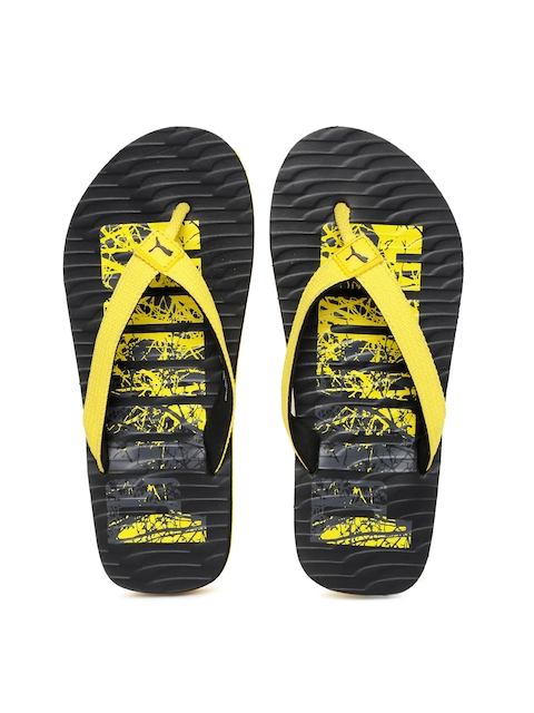 Puma Unisex Yellow & Black Flip-Flops