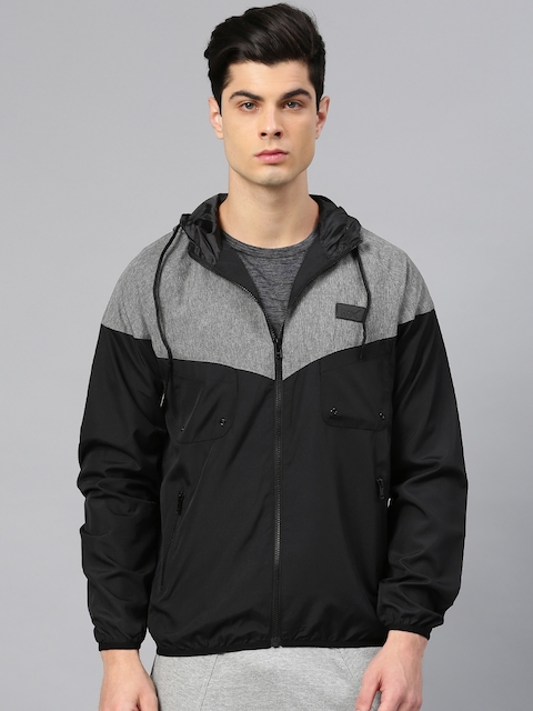 HRX by Hrithik Roshan Men Black Colourblocked Sporty Jacket