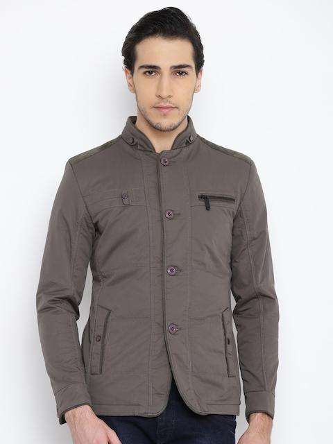 Fort Collins Men Olive Green Solid Jacket