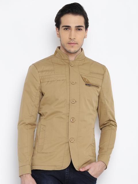 Fort Collins Men Beige Solid Tailored Jacket
