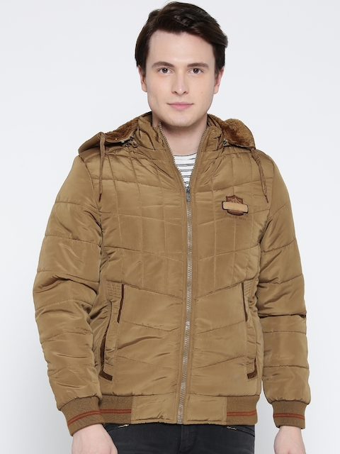 Fort Collins Men Khaki Solid Bomber Jacket with Detachable Hood