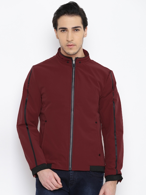 Fort Collins Men Maroon Solid Sporty Jacket