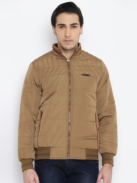 Fort Collins Men Khaki Solid Bomber Jacket  available at myntra for Rs.1236