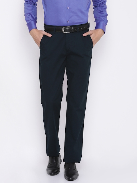 Peter England Men Navy Blue Regular Fit Solid Regular Trousers