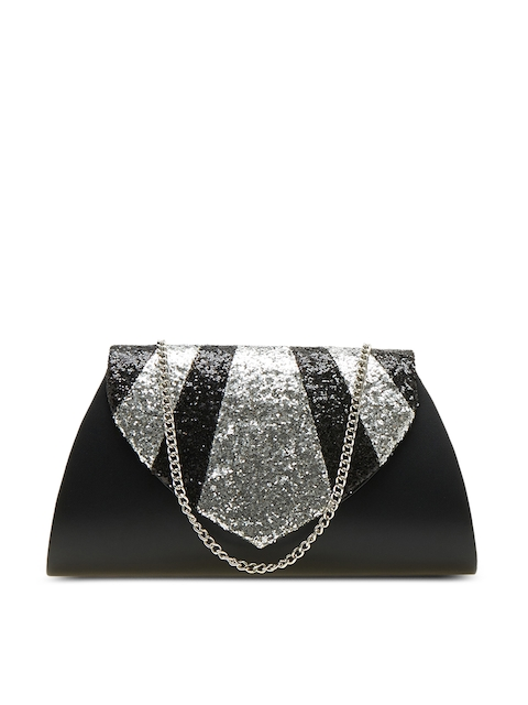 Tarusa Black Sequinned Solid Clutch