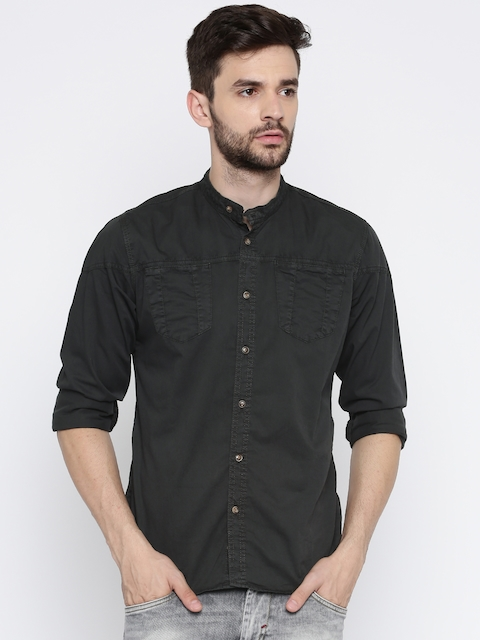 Roadster Men Charcoal Regular Fit Solid Casual Shirt