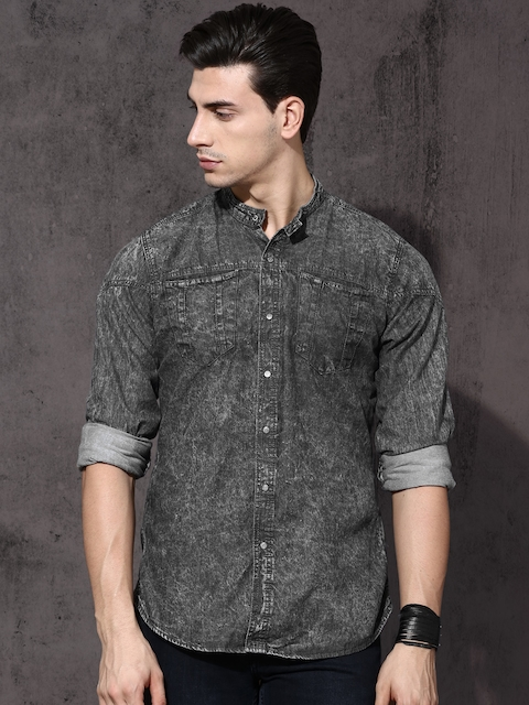 Roadster Men Grey Regular Fit Faded Casual Shirt