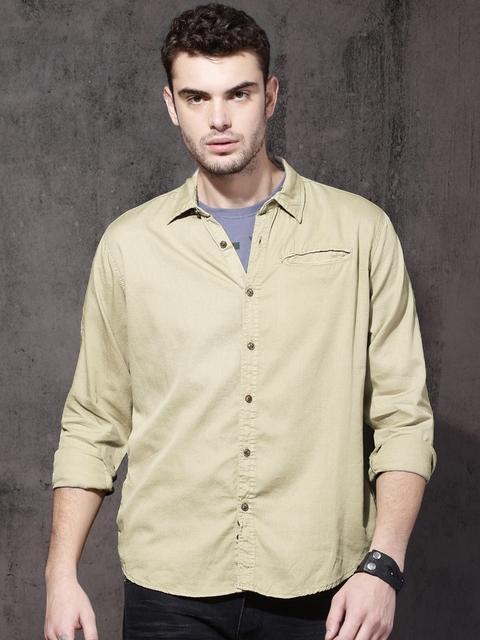 RDSTR Men Beige Regular Fit Solid Casual Shirt