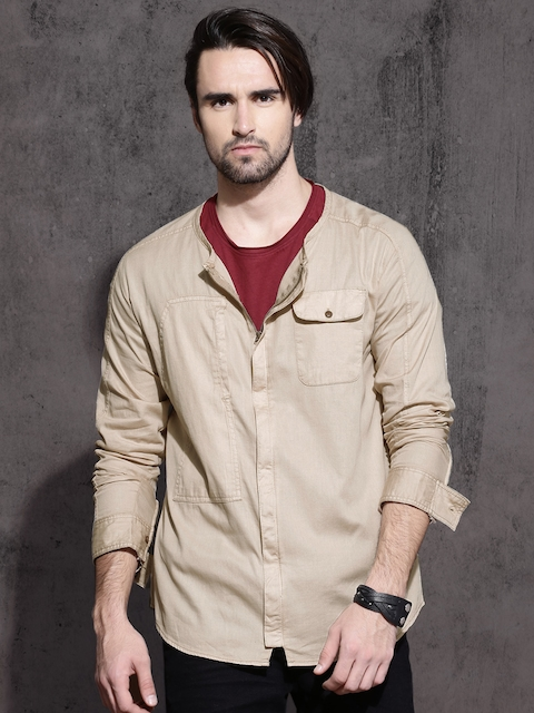 Roadster Men Beige Slim Fit Solid Casual Shirt
