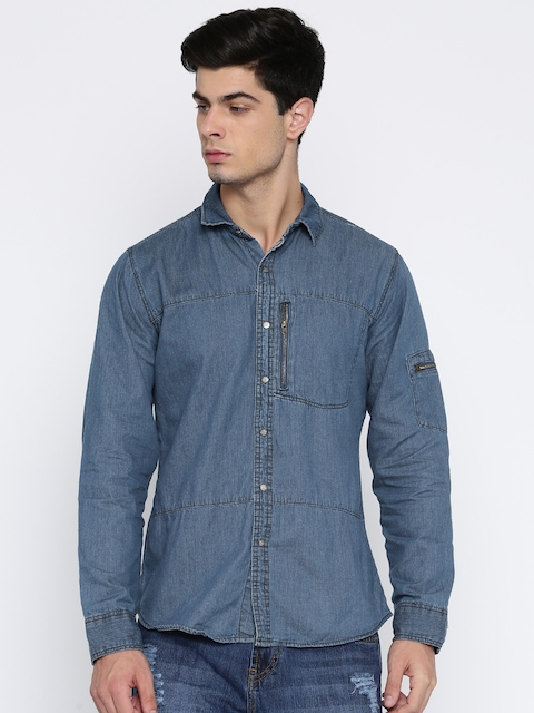 Roadster Men Blue Regular Fit Faded Casual Shirt