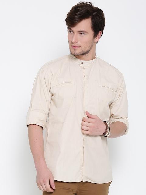 Roadster Men Beige Solid Casual Shirt