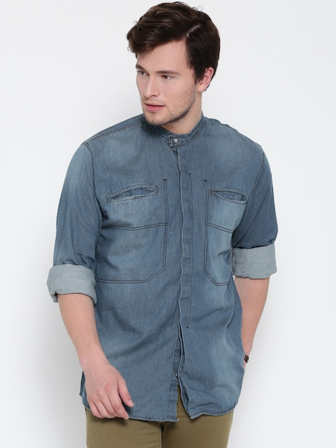 Roadster Men Blue Washed Denim Shirt