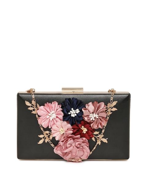 DressBerry Black Floral Embellished Clutch