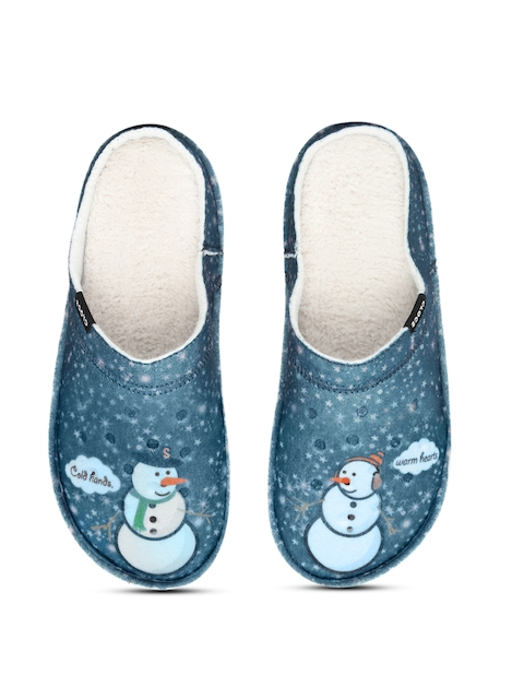 Crocs Unisex Blue Classic Graphic Print Fleece Slippers