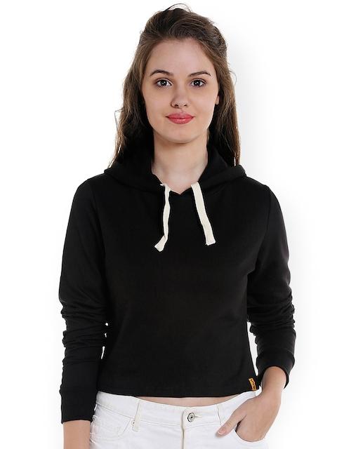 Campus Sutra Women Black Solid Hooded Crop Sweatshirt