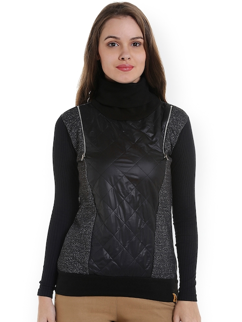 Campus Sutra Women Charcoal Grey & Black Solid Sweatshirt