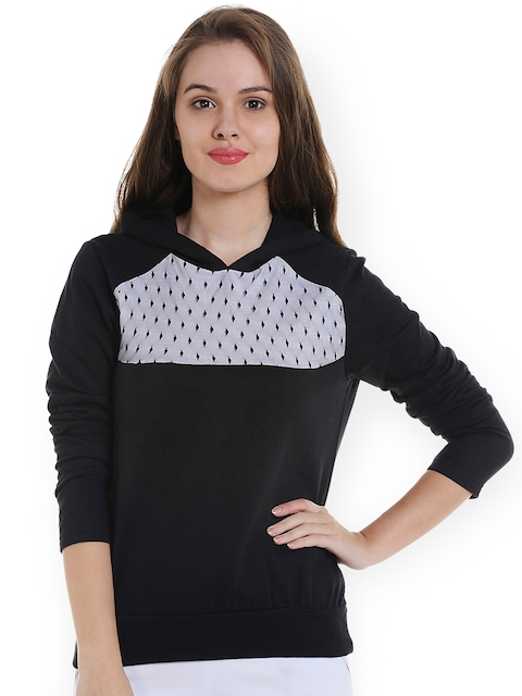 Campus Sutra Women Black & White Solid Hooded Sweatshirt