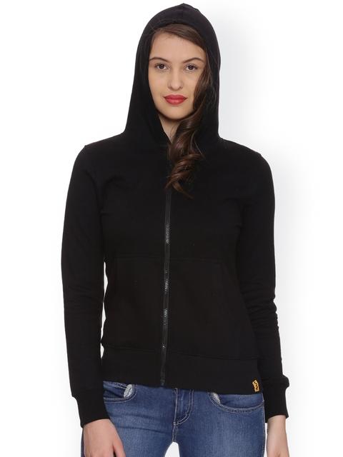Campus Sutra Women Black Solid Hooded Sweatshirt