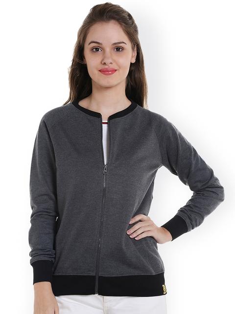 Campus Grey Sutra Women Charcoal Grey Solid Sweatshirt