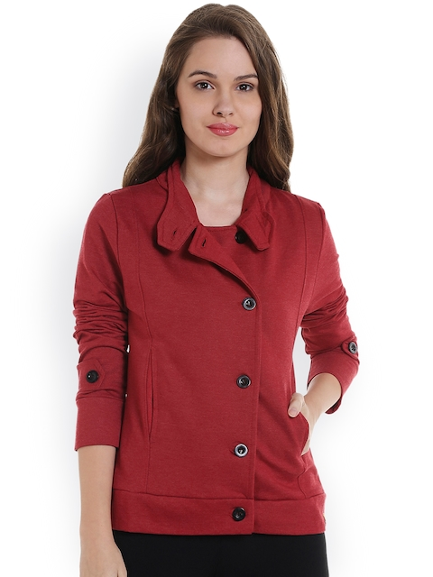 Campus Sutra Women Maroon Solid Bomber