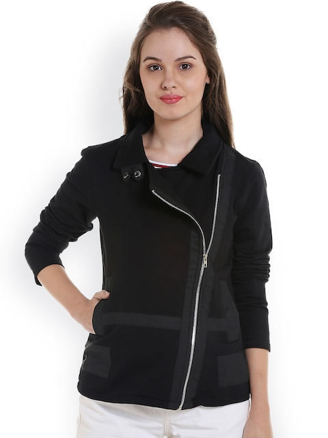 Campus Sutra Women Black Solid Bomber Jacket