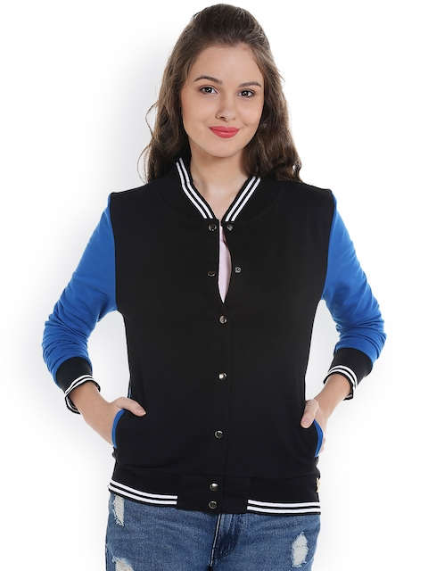 Campus Sutra Women Black Solid Varsity Jacket