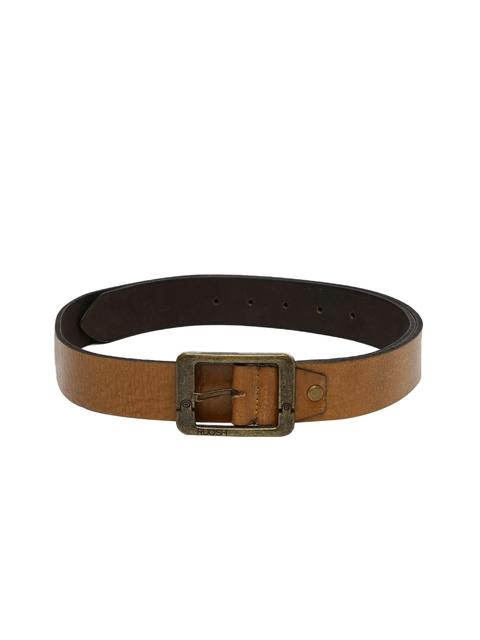 Ruosh Men Tan Brown Genuine Leather Solid Belt