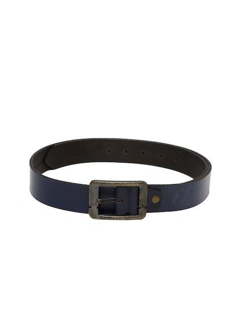 Ruosh Men Navy Genuine Leather Solid Belt