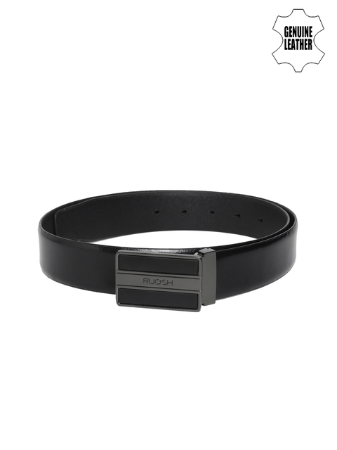 Ruosh Men Black Solid Genuine Leather Belt