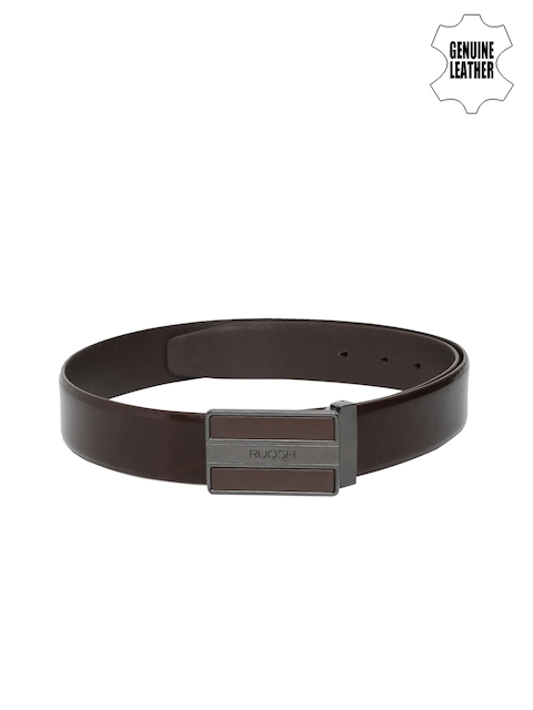 Ruosh Men Brown Solid Genuine Leather Belt