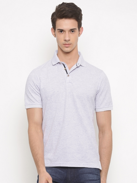 Peter England Men Lavender Solid Polo Collar T-shirt