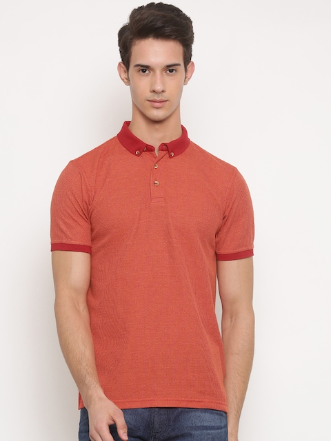Peter England Men Orange Self-Designed Polo T-shirt