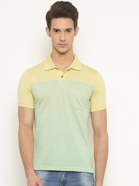 Peter England Men Yellow & Green Self-Design Polo Collar T-shirt