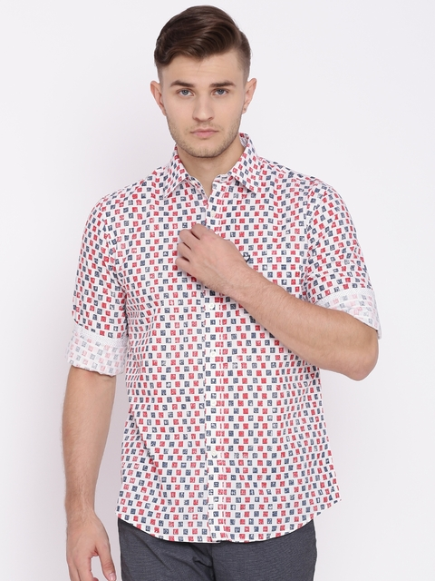 Allen Solly Men White & Red Sport Fit Printed Casual Shirt