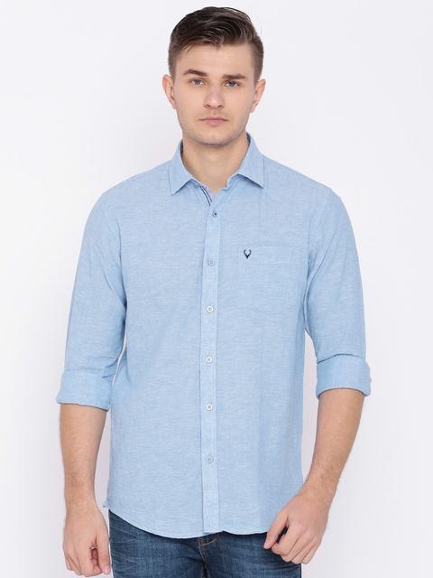 Allen Solly Men Blue Sport Fit Solid Casual Linen Shirt