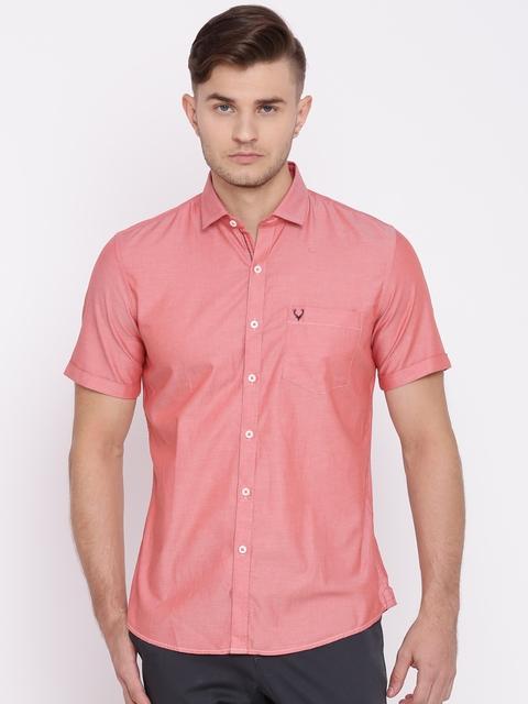 Allen Solly Men Red Custom Regular Fit Solid Casual Shirt