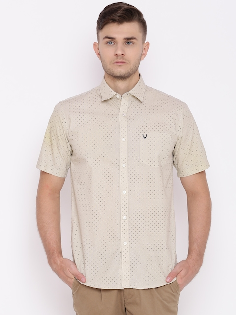 Allen Solly Men Beige Sport Fit Printed Casual Shirt