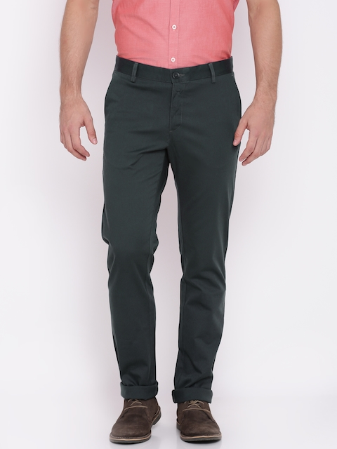Allen Solly Men Charcoal Grey Custom Regular Fit Solid Chinos