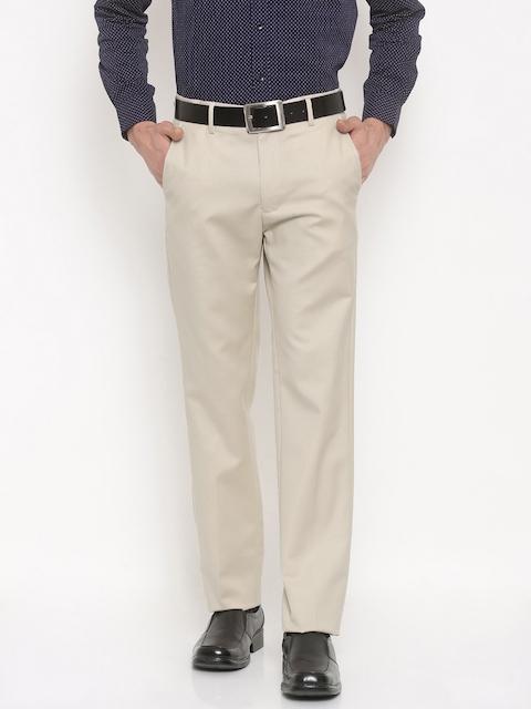 Allen Solly Men Beige Regular Fit Solid Formal Trousers