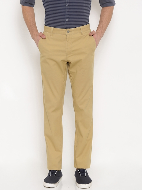 Allen Solly Men Khaki Regular Fit Solid Regular Trousers