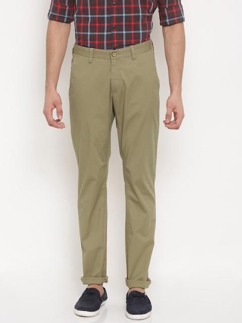 Allen Solly Men Khaki Smart Slim Fit Solid Regular Trousers