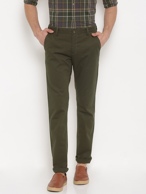Allen Solly Men Olive Green Custom Regular Fit Solid Regular Trousers