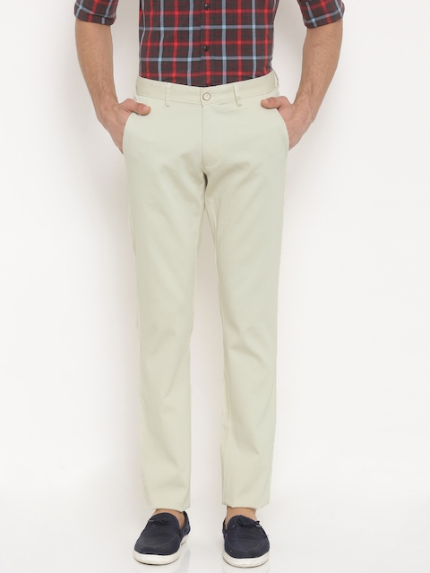 Allen Solly Men Cream-Coloured Smart Slim Fit Self-Design Regular Trousers