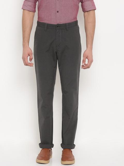 Allen Solly Men Grey Custom Regular Fit Solid Regular Trousers