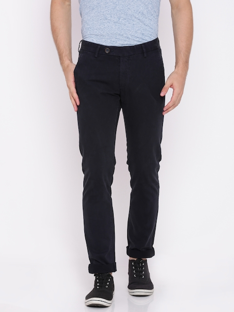 Allen Solly Men Navy Smart Slim Fit Solid Chinos