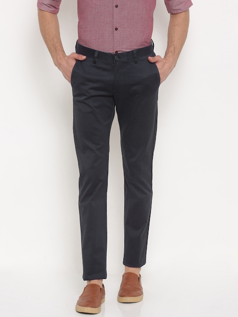 Allen Solly Men Navy Smart Regular Fit Solid Chino Trousers